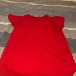 Red H&M blouse with flutter sleeve